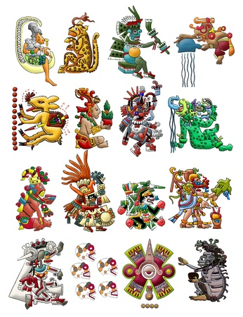 mayan prophecy: Set of Mayan - Aztec deities isolated on white Stock Photo