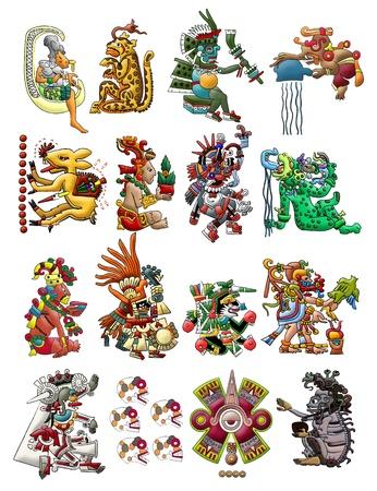 Set van Maya - Azteekse goden op wit wordt geïsoleerd