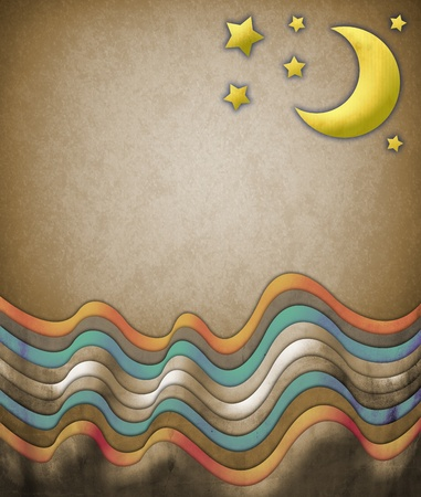 daydream: Abstract scene with moon and stars