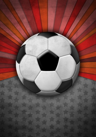 Soccer ball on a background of gray and red colors photo