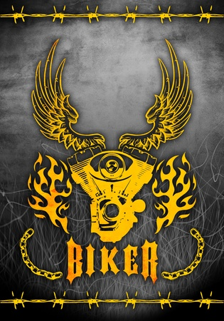 motociclista: motocicletas diseño abstracto del grunge anunciante
