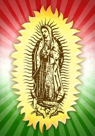 angel white: Mexican Virgin of Guadalupe
