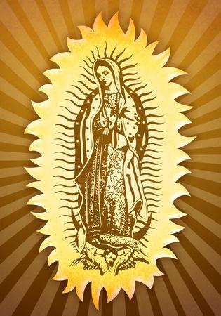 Guadalupe Virgin - vintage portrait  스톡 콘텐츠