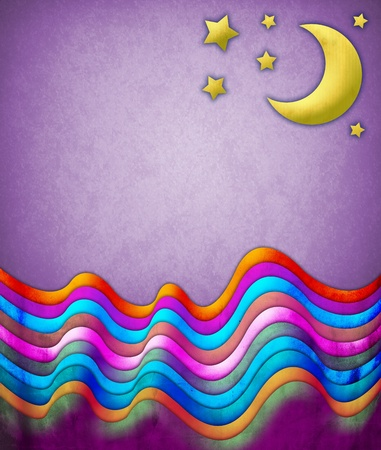 Abstract scene with a moon and stars Stock Photo