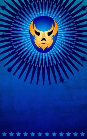 traje mexicano: Cartel de la máscara de luchador mexicano - tarjeta - plantilla