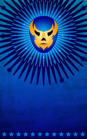 Mexican wrestler mask poster - card - template