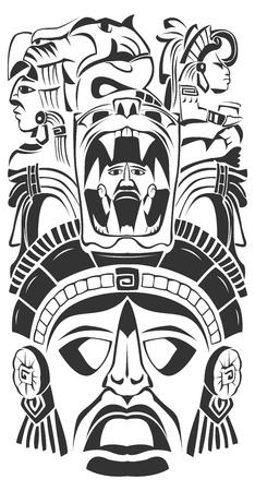 Mayan mask - mexican Mayan motifs - symbol - 2012