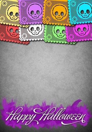 Mexican style halloween poster template