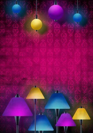 Beautiful abstract scene with lamps