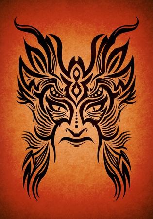 maschera tribale: Decorative maschera tribale Maya, Aztechi