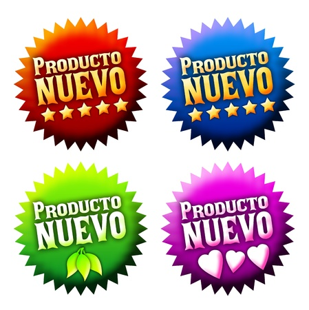 New arrival stickers with text in spanish Stock Photo - 13490990