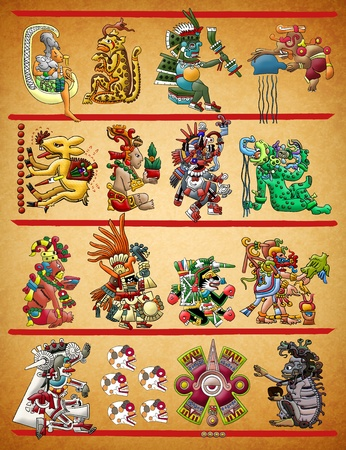 Maya - Azteekse codex illustratie