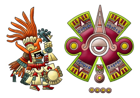mayan prophecy:  Maya - aztec - mexica - Isolated Symbols  Stock Photo