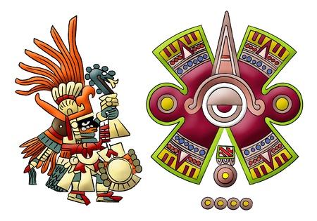 Maya - aztec - mexica - Isolated Symbols  Banque d'images