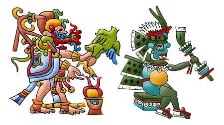 codex: Mayan - Aztec deities Kukulkan and Tlaloc