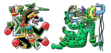 Mayan - Aztec interpretation of a dog and a jaguar photo