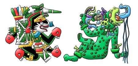 Mayan - Aztec interpretation of a dog and a jaguar photo