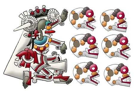 Mictlan - mayan - aztec deity, lord of underworld and skulls photo