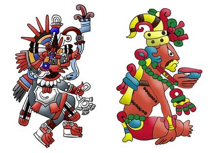Quetzalcoatl mayan - aztec godheid op wit wordt geïsoleerd