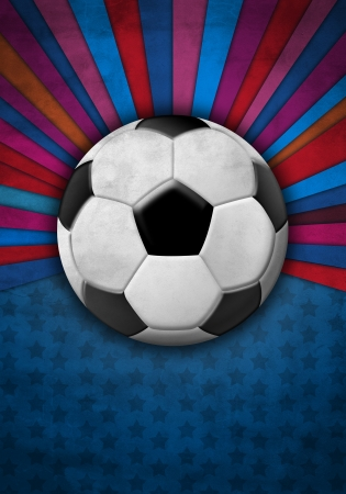 league:  Soccer ball on a background of blue and red colors