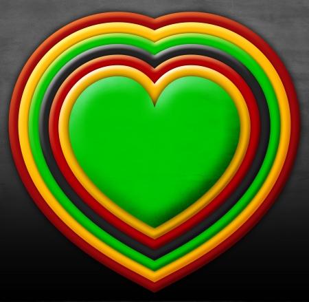 reggae: coeur avec des couleurs rasta