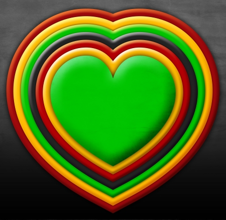 rasta:  heart with rasta colors