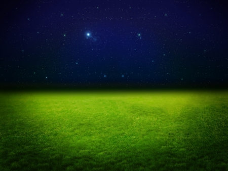Moonlight green field with stars Stock Photo