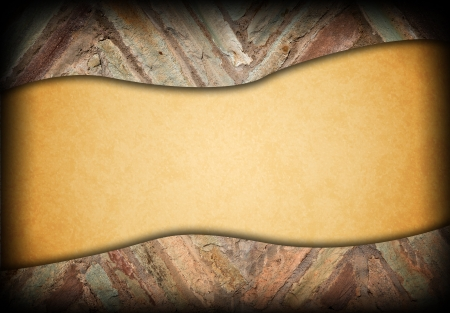 vintage wrinkled paper on old brick wall Stock Photo - 15930263