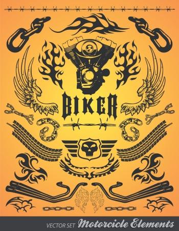 Chopper Motorcycle elementen vector Stock Illustratie