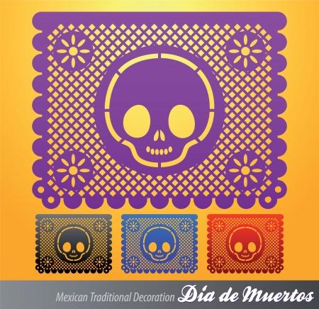 halloween party: Mexicaanse Dag van de dood vector decoratie Stock Illustratie