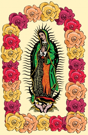 The Virgin of Guadalupe and roses - vector  Illustration