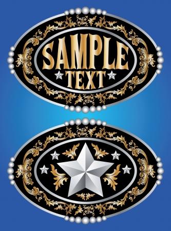 cowboy belt buckle  design Stock Illustratie