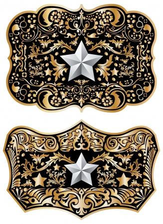 カウボーイのベルトのバックルのデザイン  イラスト・ベクター素材