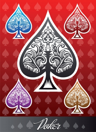 ace of diamonds: Decorative  poker Spade icon set Illustration