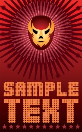 traje mexicano: Máscara de luchador mexicano - poster - tarjeta - vector Vectores