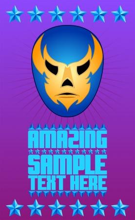 wrestler: Mexican wrestler mask - poster - card - vector