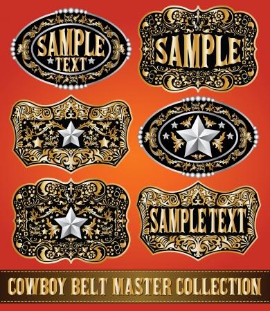 cuero vaca: Cowboy hebilla de cinturón vector colección principal de ajuste de diseño