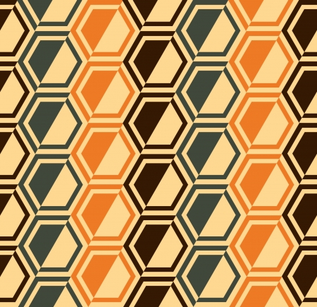 Hexagon seamless pattern background - retro colors - vector