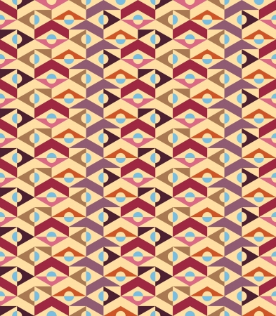 Abstract geometric seamless background, vintage - retro colors - vector Illustration
