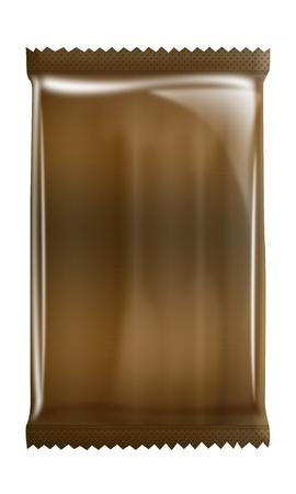 Coffe - chocolate - Aluminum - Metallic bag package isolated on white background photo