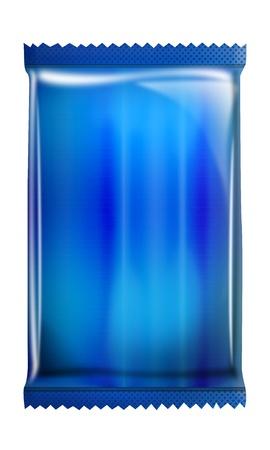 Blue- Aluminum - Metallic bag package isolated on white background photo