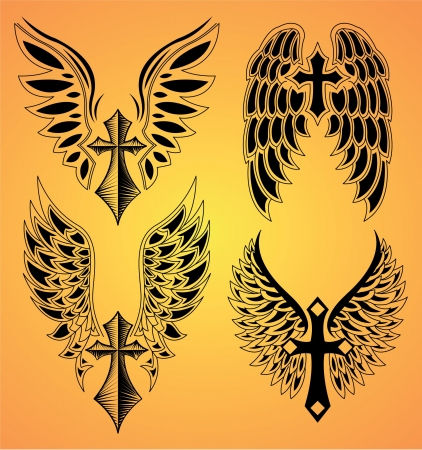 bird  celtic:  Vector Set of cross and wings - tattoo - elements