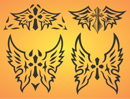 Set of cross and wings - tattoo Stock Vector - 17627886