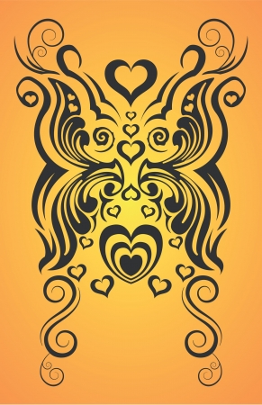 abstract butterfly and heart tribal tattoo 向量圖像