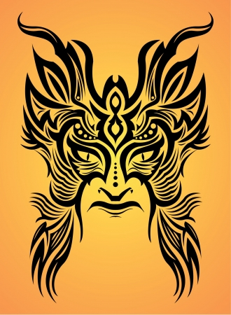 Mayan aztec mask - tribal - tattoo Vector