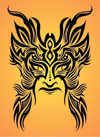 Mayan aztec mask - tribal - tattoo Illusztráció