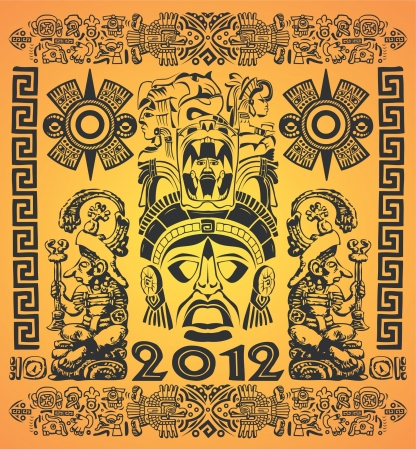 end of world:  Vector set of mexican Mayan motifs - symbol - 2012