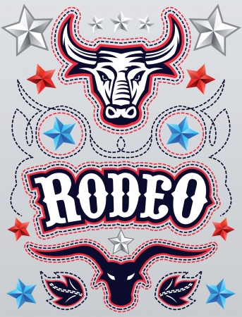 texas longhorn cattle:  American Rodeo poster - card template  elements Illustration