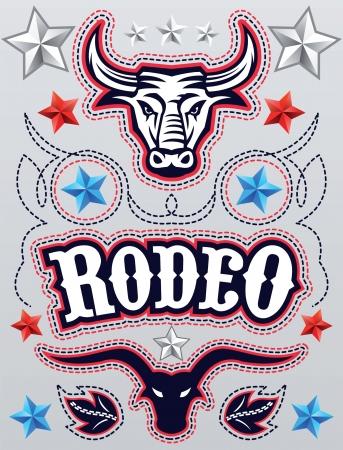 rodeo americano: Rodeo americano cartel - Elementos de la tarjeta de plantilla