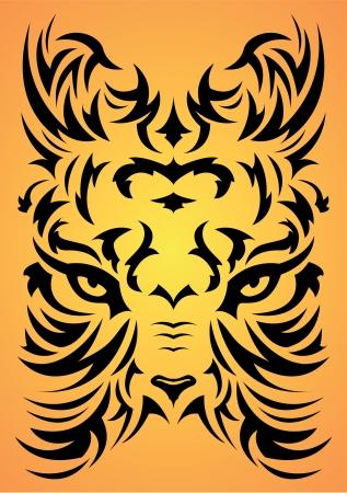 art painting: Stylized Tiger face symbol - tattoo, vector illustration